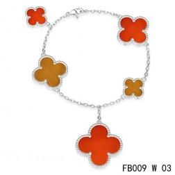 Van Cleef & Arpels Magic Alhambra Bracelet,White Gold with 5 Motifs Stone Combination