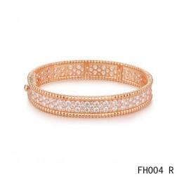 Van Cleef & Arpels Perlee Bracelet with Diamonds,Pink Gold,Medium Model