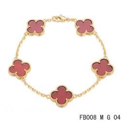 Van Cleef Arpels Yellow Gold Vintage Alhambra 5 Motifs Carnelian Bracelet