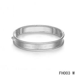 Van Cleef & Arpels Perlee Signature Bracelet,White Gold,Medium Model