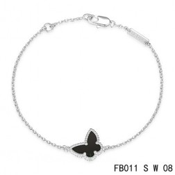 Van Cleef & Arpels White Gold Sweet Alhambra Black Onyx Butterfly Bracelet
