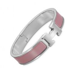 Hermes clic H bracelet white gold narrow rosewood enamel replica