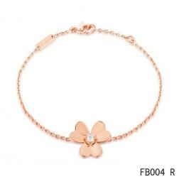 Van Cleef and Arpels Frivole Charm Diamond Bracelet Pink Gold