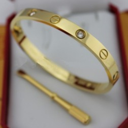 cartier love bracelet yellow gold plated real with 4 Diamonds replica