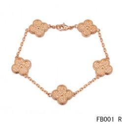 Van Cleef and Arpels Pink Gold Vintage Alhambra Bracelet 5 Motifs