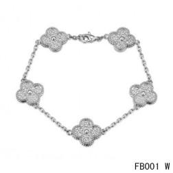 Van Cleef and Arpels White Gold Vintage Alhambra Bracelet 5 Motifs