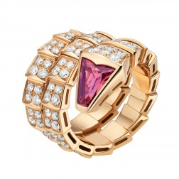 Bvlgari Serpenti ring pink gold double-spiral red tourmaline AN856156 replica