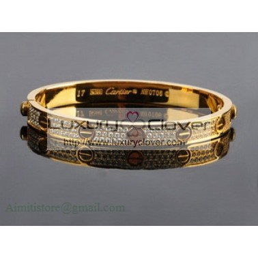 87a55b65f3cfa Cartier Yellow Gold Love Bracelet With Paved Diamonds+Free Screwdriver