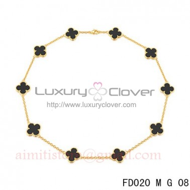 1f44ff8109bc8 Van Cleef Arpels Vintage Alhambra Necklace Yellow Gold 10 Motifs Black Onyx