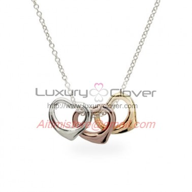 c1912703c5a2f Designer Inspired Sterling Silver Three Tone Heart Charms Necklace