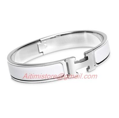 Hermes White Enamel Clic H Narrow Bracelet In Gold