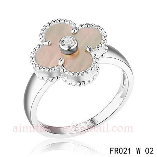 aaea7d6bc68 Van Cleef And Arpels Vintage Alhambra Ring White Gold Grey Mother Of Pearl  With Diamond