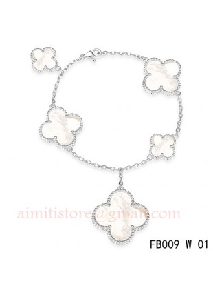 Van Cleef Arpels Magic Alhambra White Gold Bracelet 5 Motifs Mother Of Pearl