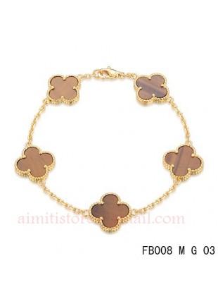 Van Cleef Arpels Pink Gold Vintage Alhambra Bracelet 5 Motifs Tiger S Eye