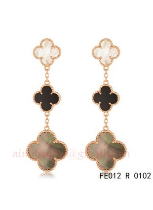 Van Cleef Arpels Magic Alhambra 3 Clover Motifs Earclips In Pink Gold