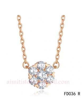 Van Cleef & Arpels Pink Gold Floral Fleurette Pendant Necklace 7 Diamonds