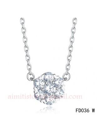 Van Cleef & Arpels White Gold Floral Fleurette Pendant Necklace 7 Diamonds
