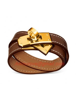Hermes Kelly Double Tour Brown Leather Bracelet With Gold Plated Clasp