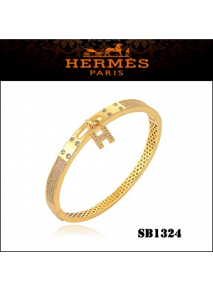 Hermes Kelly H Lock Cadena Charm Bracelet In Yellow Gold With Diamonds