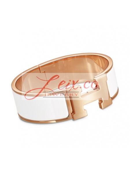 58521f6fbf3f Hermes White Enamel Clic Clac H Wide Bracelet in Rose Gold