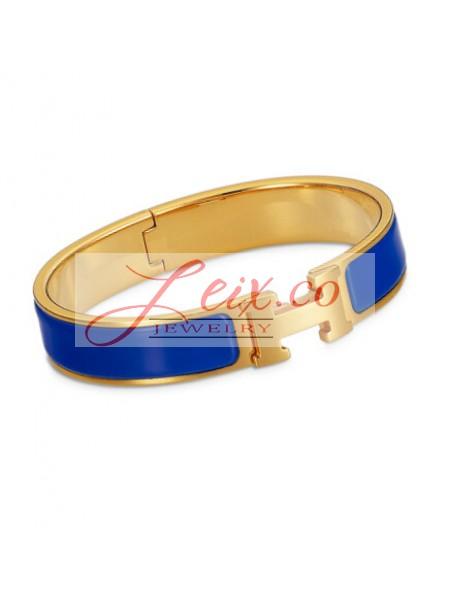 dd791cfa250 Hermes Royal Blue Enamel Clic H Narrow Bracelet in Yellow Gold