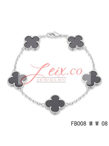 Van Cleef Arpels Vintage Alhambra White Gold Bracelet 5 Motifs Black Onyx