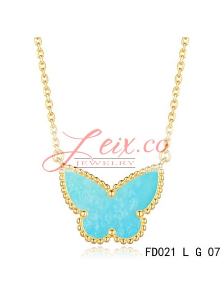 b3a2bdc63b Van Cleef Arpels Lucky Alhambra Turquoise Butterfly Necklace Yellow Gold