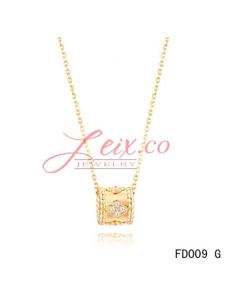 Van cleef arpels perlee clover pendant necklace yellow gold with van cleef arpels perlee clover pendant necklace yellow gold with diamonds aloadofball Image collections