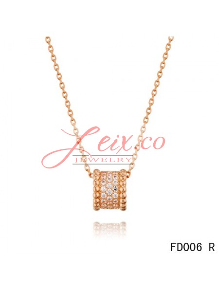Van cleef arpels pink gold perlee pendant with diamonds 5 rows aloadofball Image collections