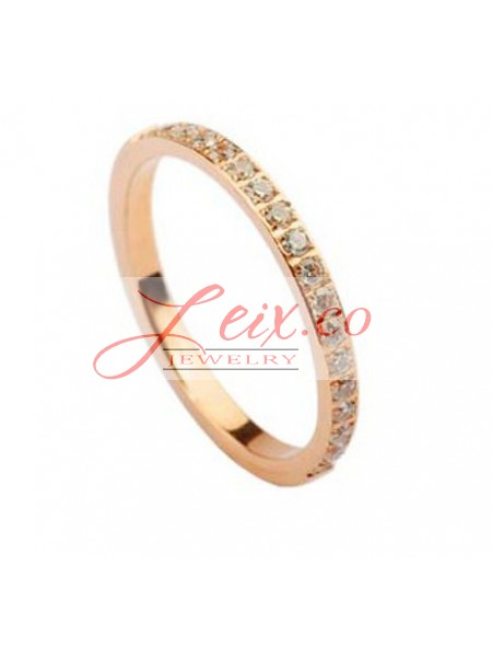 Lanieres Wedding Band Ring in 18k Pink Gold Set With Diamonds