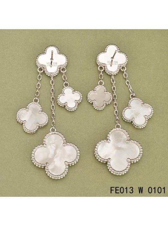 Van Cleef Arpels White Gold Magic Alhambra Earclips Mother Of Pearl 4 Motifs