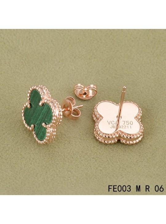 38c15dd91 ... Van Cleef Arpels Pink Gold Vintage Alhambra Malachite Clover Earstuds