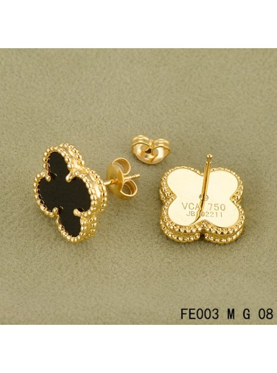 Van Cleef Arpels Sweet Alhambra Earrings Yellow Gold Black Onyx