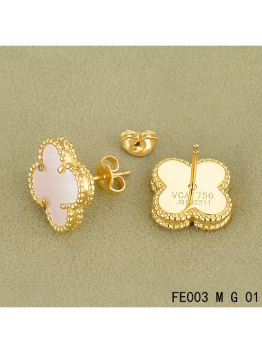 Van Cleef Arpels Yellow Gold Vintage Alhambra White Mop Earsteds