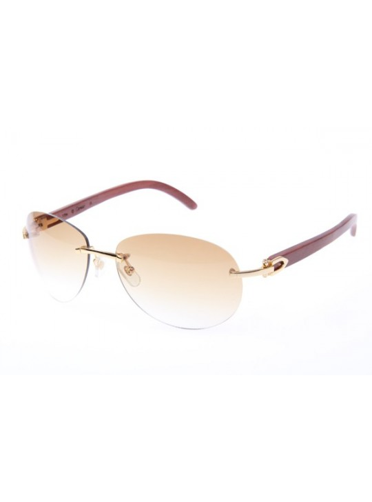 ca4b656120e0 Cartier 3524016 Wood Sunglasses In Gold Brown Gradient ...