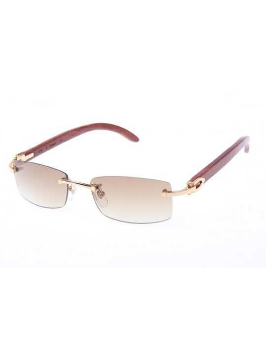 Cheap Cartier 3524012 Wood Sunglasses In Gold Brown