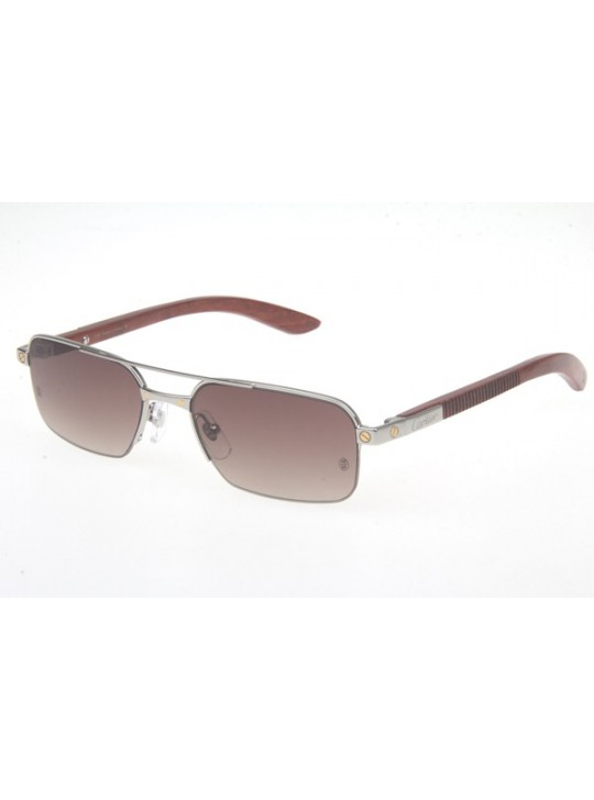 00ffb580f54 Cartier 6101003 Wood Sunglasses In Silver Brown Gradient ...