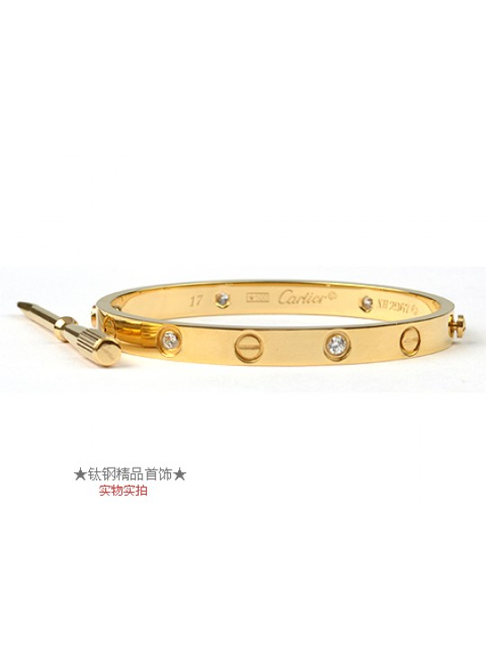 d91fac7f1d40 Cartier 18kt Yellow Gold LOVE Bangle with 4 Diamonds for Women