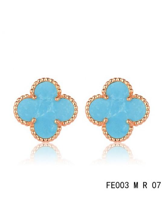 8a5684fcb Van Cleef Arpels Pink Gold Vintage Alhambra Turquoise Clover Earstuds ...