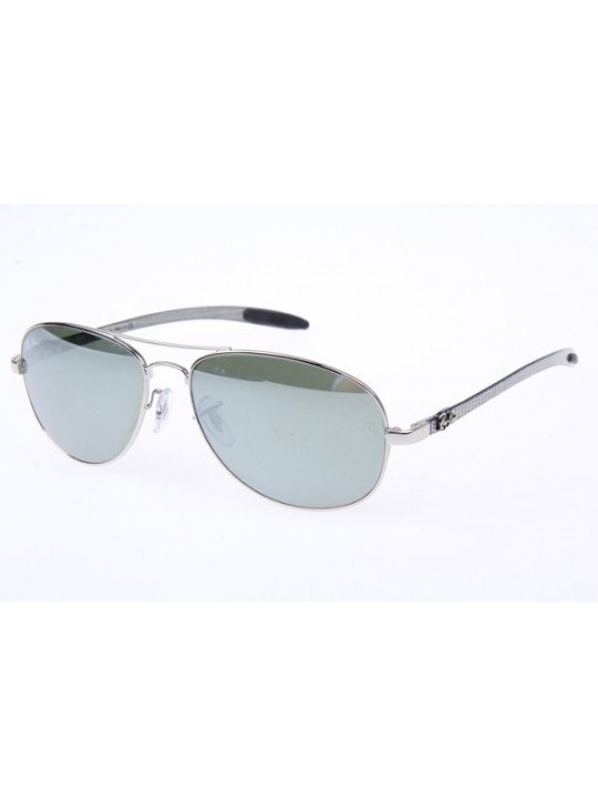 Ray Ban RB8301 Aviator Carbon Fiber Tech Sunglasses in Silver Mirror 003 40