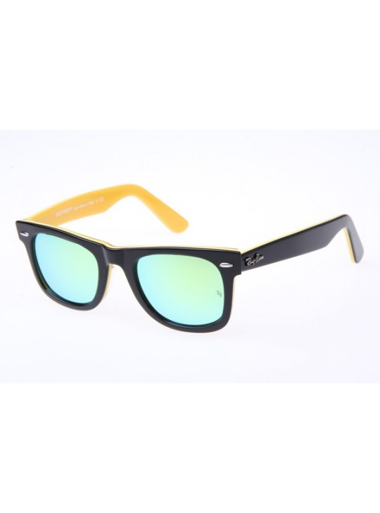 545d2a680e0 Ray Ban Wayfarer RB2140 50-22 Sunglasses In Black Yellow With Green Lens  1000 18