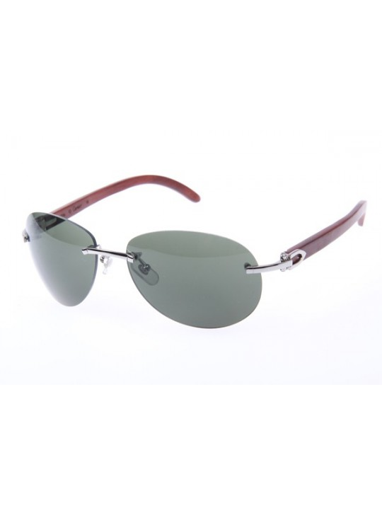 594beec8afab Cartier 3524016 Wood Sunglasses In Silver Grey Gradient ...