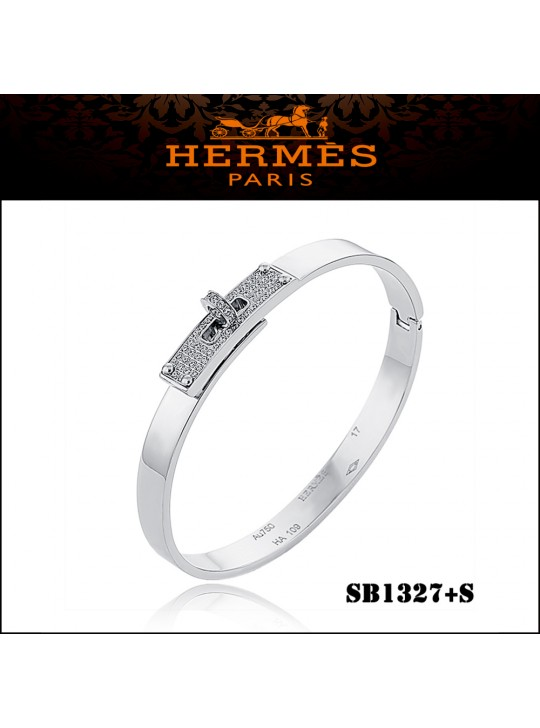 Hermes Kelly Bracelet In White Gold Set With Diamonds