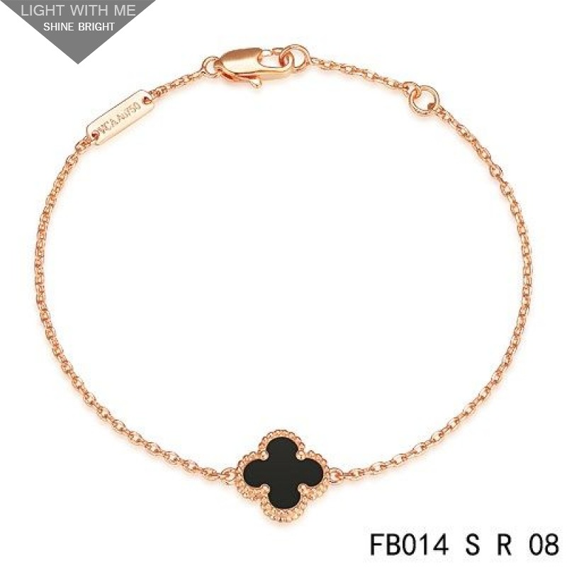 Van Cleef Arpels Mini Black Onyx Clover Sweet Alhambra Bracelet In Pink Gold