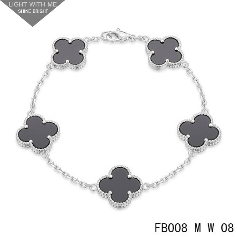 7a1fea376d9b Van Cleef Arpels Vintage Alhambra 5 Black Onyx Motifs White Gold Bracelet