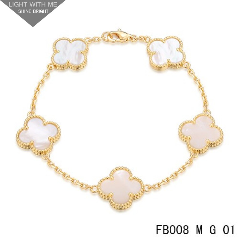 size cleef gold l signature rose bracelet van i arpels perlee vca and