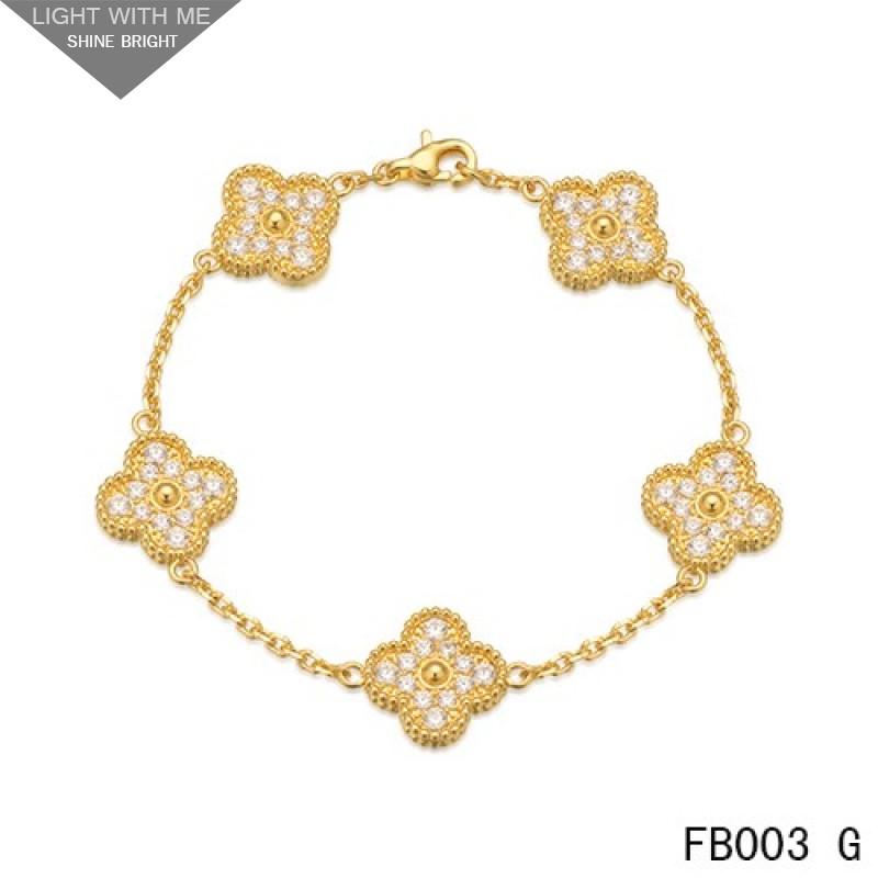 81e16d73eaa42 Van Cleef   Arpels Vintage Alhambra Bracelet Yellow Gold with 5 Diamond  Motifs
