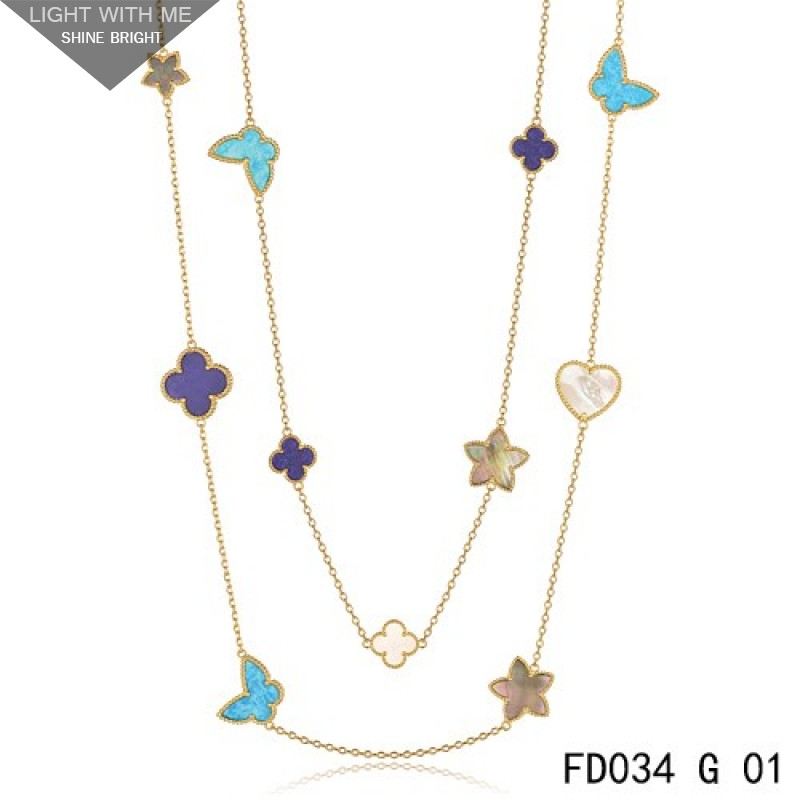 3d154bba02190 Van Cleef   Arpels Lucky Alhambra Long Necklace Yellow Gold 11 Motifs Stone  Combination