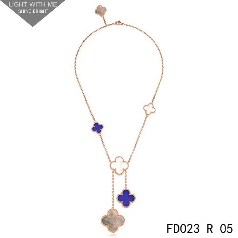 Clover Necklace Van Cleef: Van Cleef Arpels Magic Alhambra 6 Clover Motifs Stone