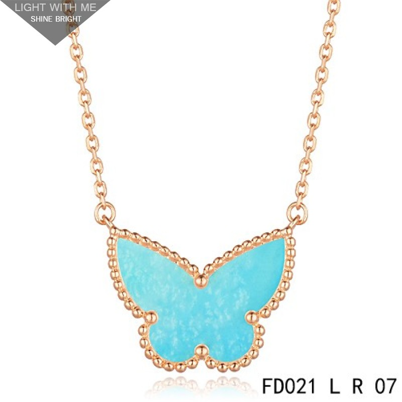 06aaf5baf6f77 Van Cleef Arpels Lucky Alhambra Turquoise Butterfly Necklace Rose Gold